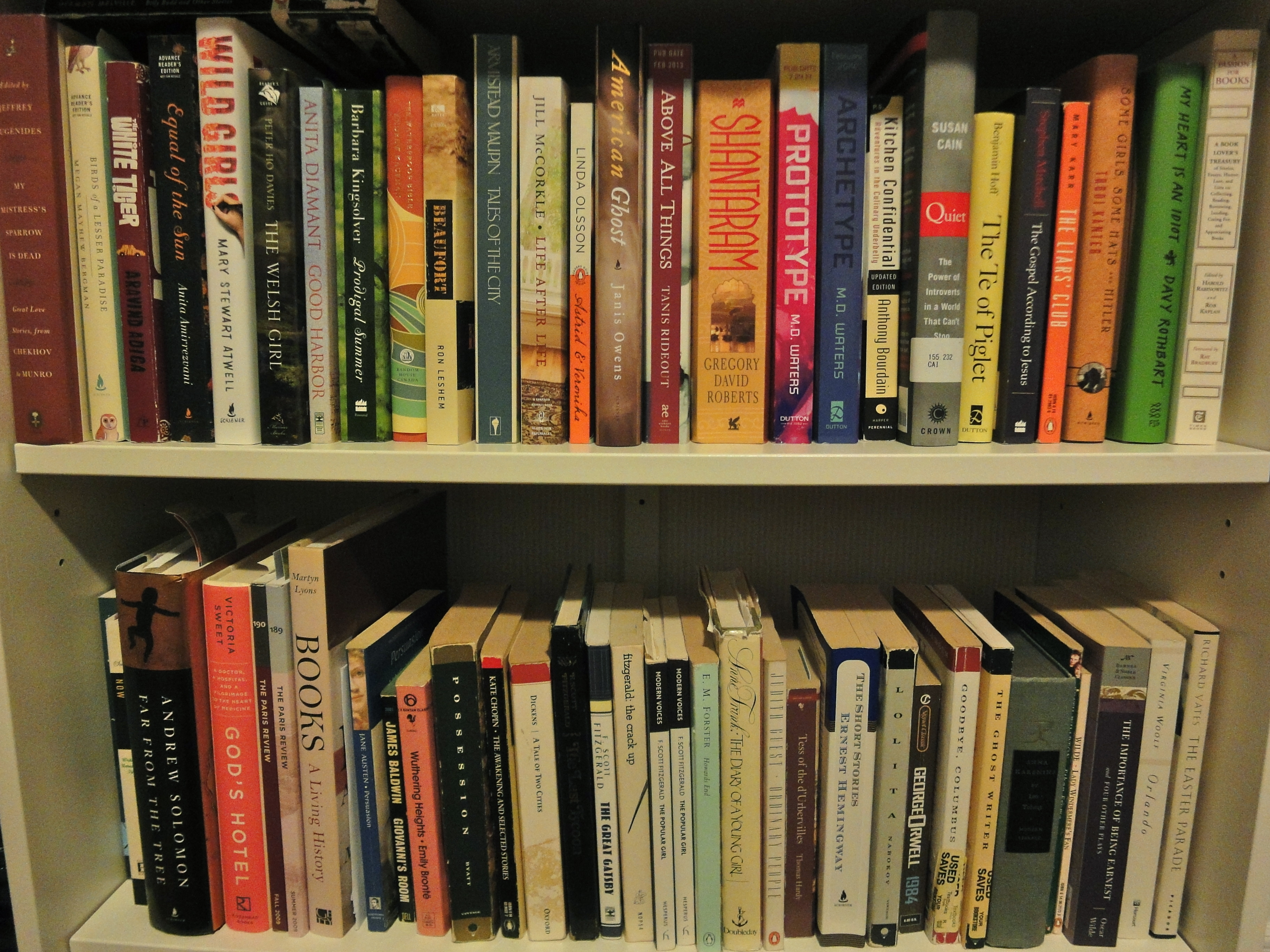 It's All The Books On The Top Shelf, Starting With Short Stories, Then  Fiction, Then Nonfiction, Which Continues Onto The First Part Of The Next  Shelf (see