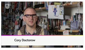 "Screen shot from course ""trailer,"" featuring Cory Doctorow"