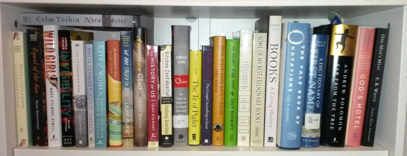 The 2014 TBR shelf, featuring many titles from the 2013 TBR shelf.