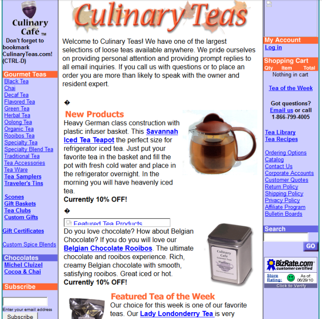 The Culinary Teas site in 2003, courtesy of the Wayback Machine.