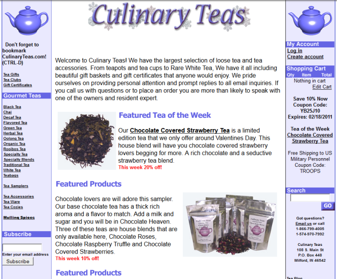 The Culinary Teas site, as captured by the Wayback Machine in 2011.