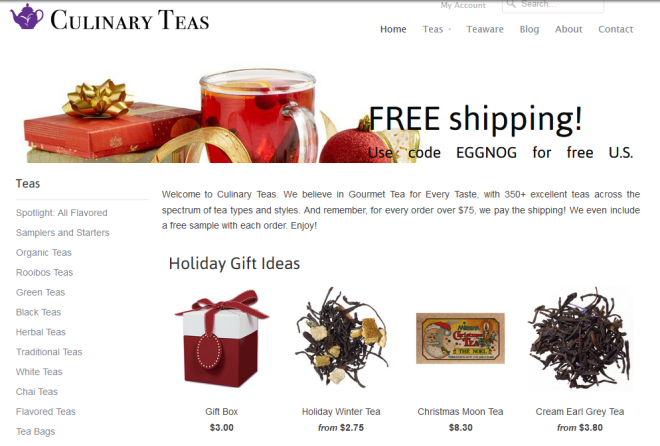 The new Culinary Teas site, December 2014.