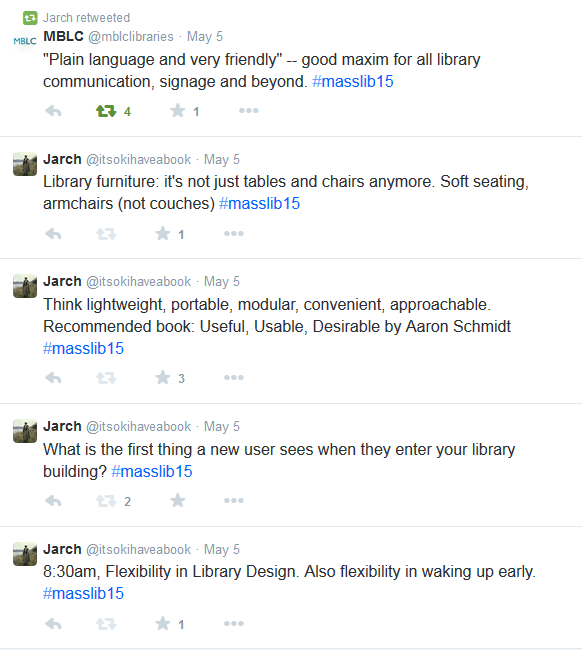 Screenshot of tweets including What is the first thing a new user sees when they enter your library building?