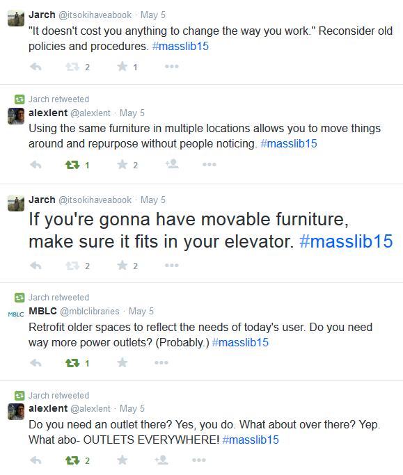 Screenshot of tweets including If you're gonna have movable furniture, make sure it fits in your elevator.