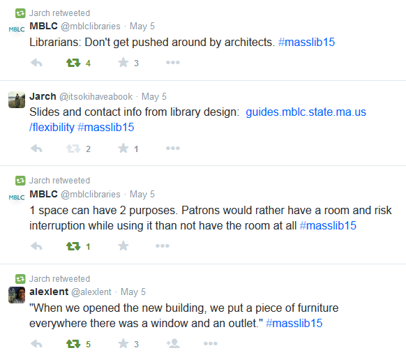 "Screenshot of tweets, including ""When we opened the new building, we put a piece of furniture everywhere there was a window and an outlet."""