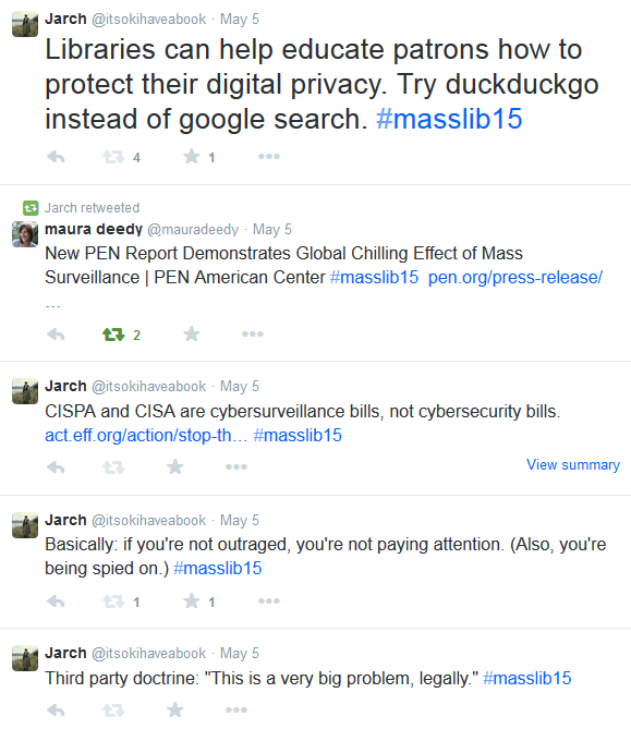 Screenshot of tweets, including Libraries can help educate patrons how to protect their digital privacy. Try duckduckgo instead of google search.