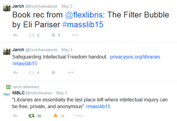 Screenshot of tweets, including Book rec from @flexlibris: The Filter Bubble by Eli Pariser #masslib15