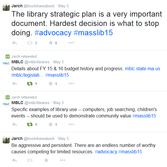 Screenshot of tweets, including Be aggressive and persistent. There are an endless number of worthy causes competing for limited resources. #advocacy