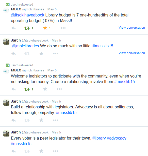 Screenshot of tweets, including Library budget is 7 one-hundredths of the total operating budget (.07%) in Mass!!