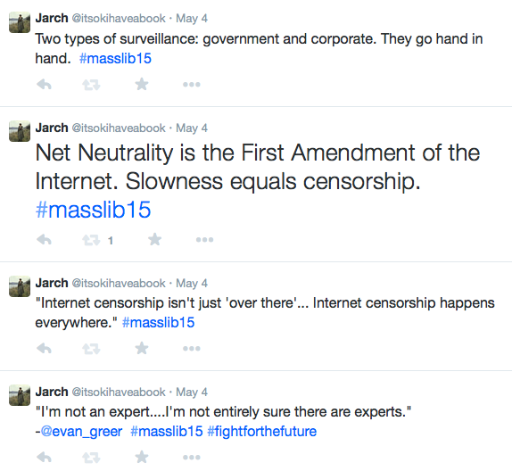 Screenshot of tweets, including Net Neutrality is the First Amendment of the Internet. Slowness equals censorship.
