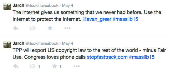 Screenshot of tweets including TPP will export US copyright law to the rest of the world - minus Fair Use. Congress loves phone calls https://www.stopfasttrack.com/