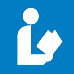 National Library Symbol: white person reading a book against a blue background
