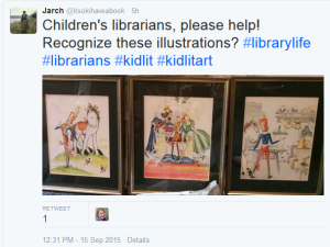 Screenshot of a tweet: Children's librarians, please help. Recognize these illustrations?