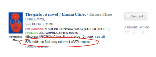Screenshot of catalog record for The Girls by Emma Cline with holds and copies circled