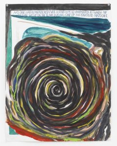 Pettibon spiral with text: No one had remembered ever seeing him so animated as when the picture went on the blink during one of his favorite cartoons.