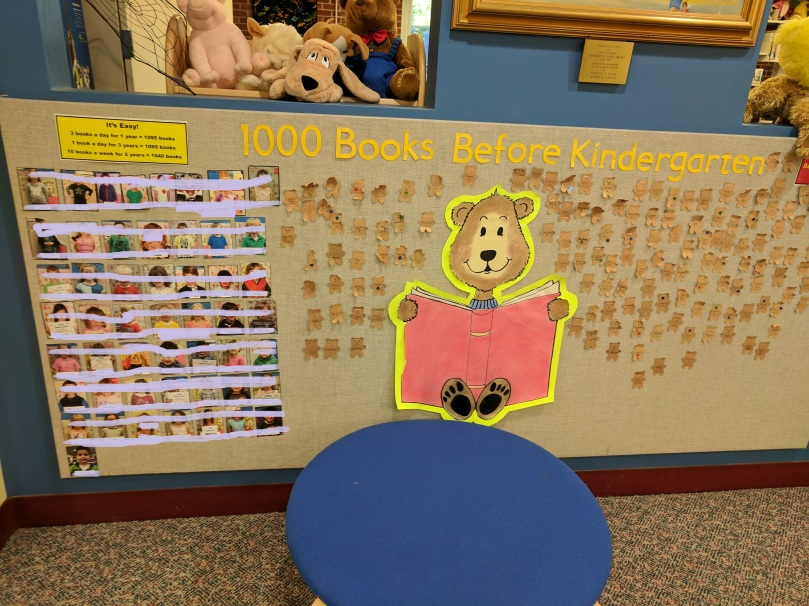 1000 Books Before Kindergarten display at the Guilford (CT) Public Library