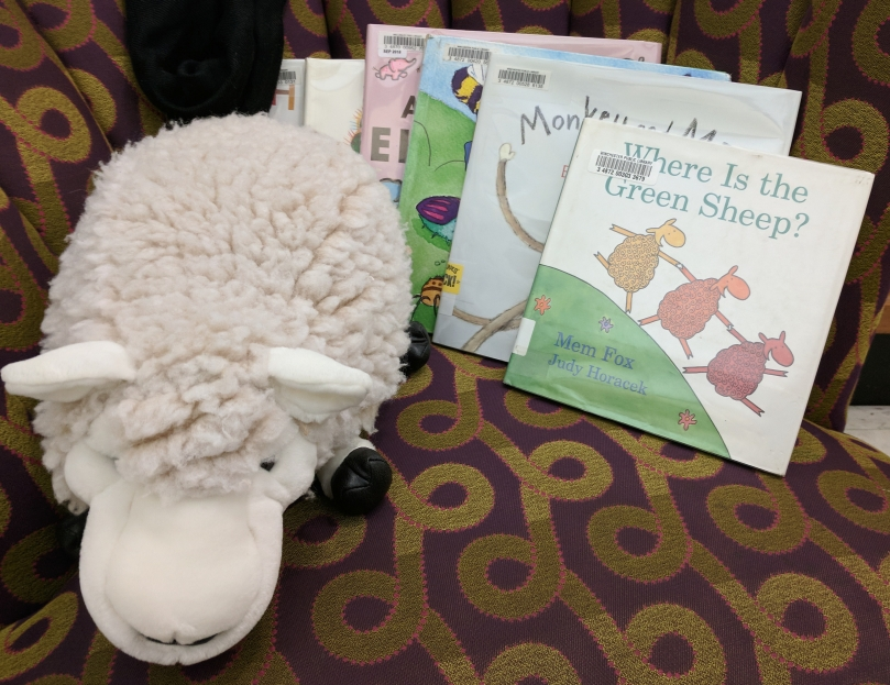 Stuffed sheep and Where is the Green Sheep? book