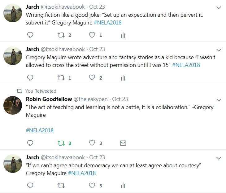 Screenshot of tweets from Gregory Maguire talk