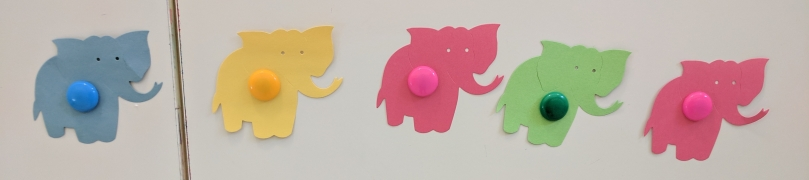Colored paper elephants