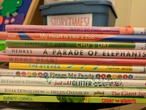 Stack of books for storytime, spines out