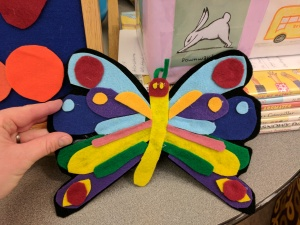 Multicolored felt butterfly