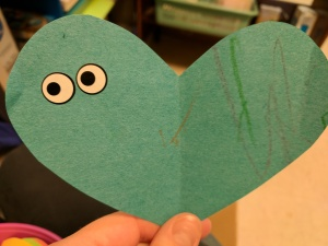 Paper heart with googly eyes