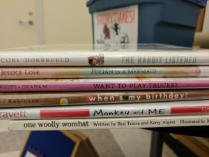 Spines of storytime books