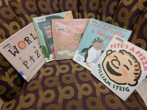 Storytime books on chair
