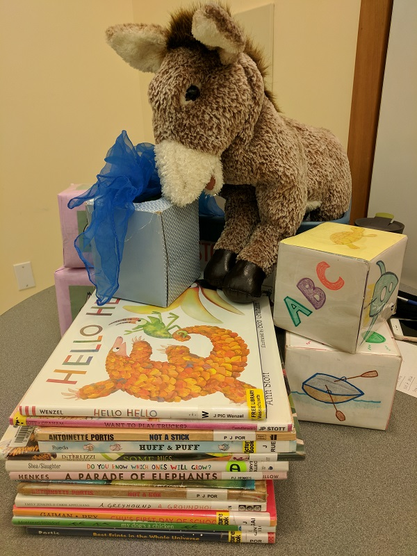Books, donkey, song cubes, scarves, yoga cubes