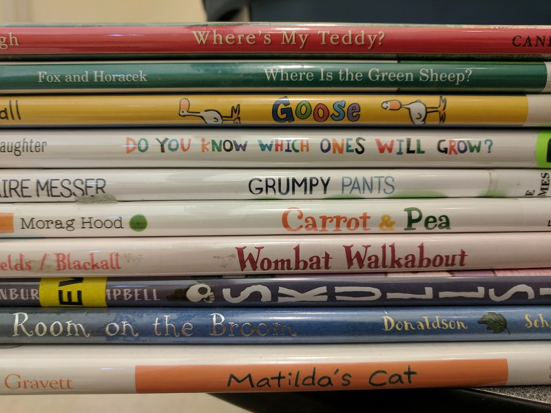 Stack of picture books, spines showing