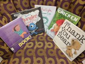 Picture books on storytime chair