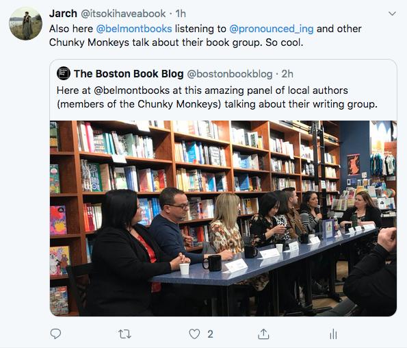 screenshot of @bostonbookblog tweet and photo of panel at bookstore