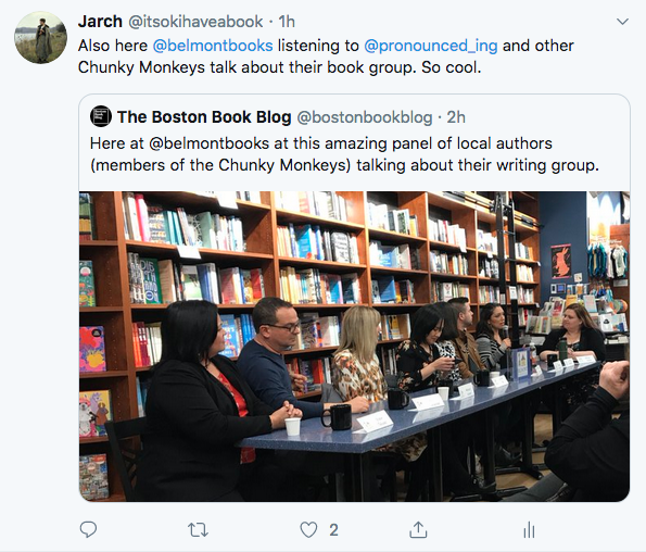 screenshot of @bostonbookblog tweet and photo of panel at bookstore