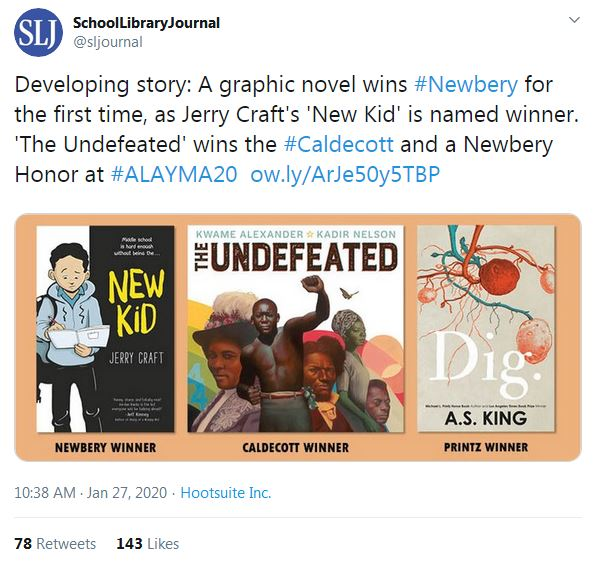 Screenshot of SLJ tweet announcing Newbery, Caldecott, and Printz winners