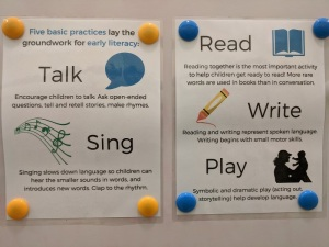 Talk, Sing, Read, Write, Play posters