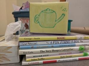 song cube, books, tissue box