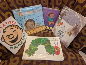 Pete's A Pizza, The Beeman, Book!, A Fox Found A Box, The Very Hungry Caterpillar