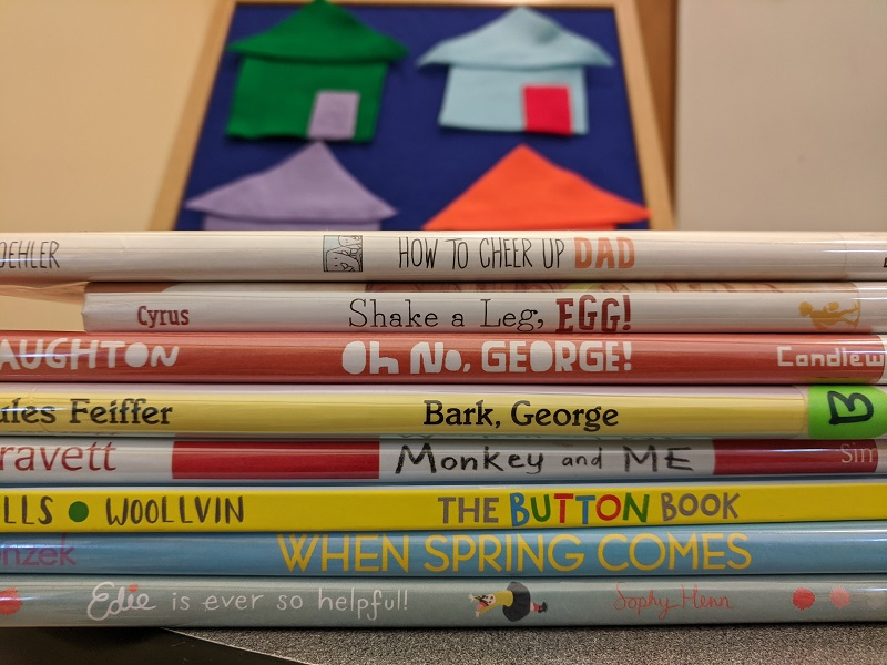 Picture books in foreground, mouse house game in background