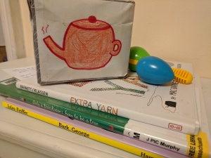 Song cube, books, shaker egg and maraca