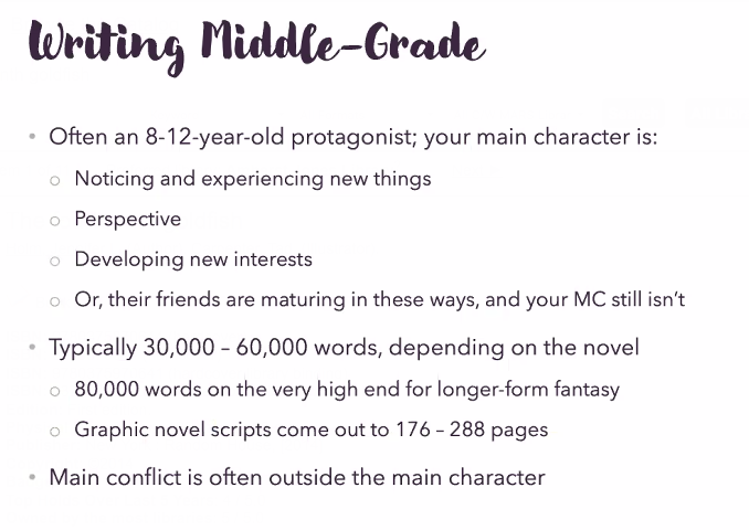 Screen shot of Writing Middle Grade slide