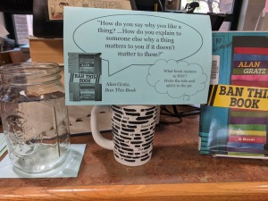 Mug with censored text, sign, glass jar, copy of Ban This Book
