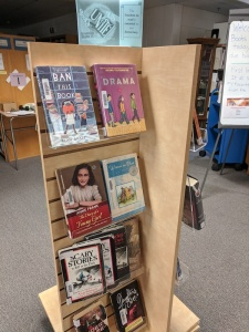 Tall spinner rack display with challenged books
